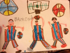 Su hijo Davide nos regaló este bonito dibujo. Copa del Rey Vitoria 13